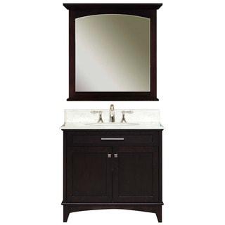 Water Creation 'Manhattan' Dark Espresso White Marble Top Vanity and Mirror Set