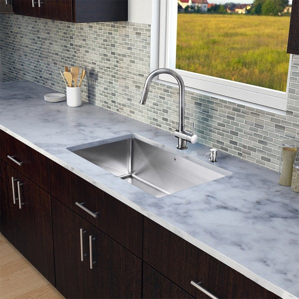 Vigo All-in-One Undermount 30-inch Kitchen Sink and Faucet Set ...