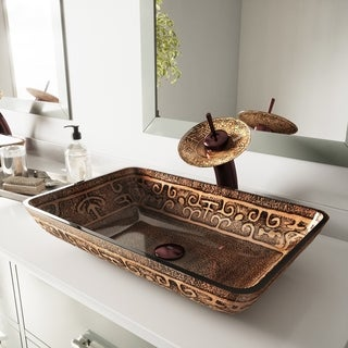 VIGO Rectangular Golden Greek Glass Vessel Sink Waterfall Faucet Set