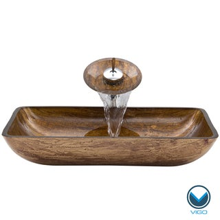 VIGO Rectangular Amber Sunset Glass Vessel Sink Waterfall Faucet Set