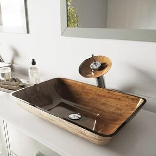 VIGO Rectangular Amber Sunset Glass Vessel Sink Waterfall Faucet Set