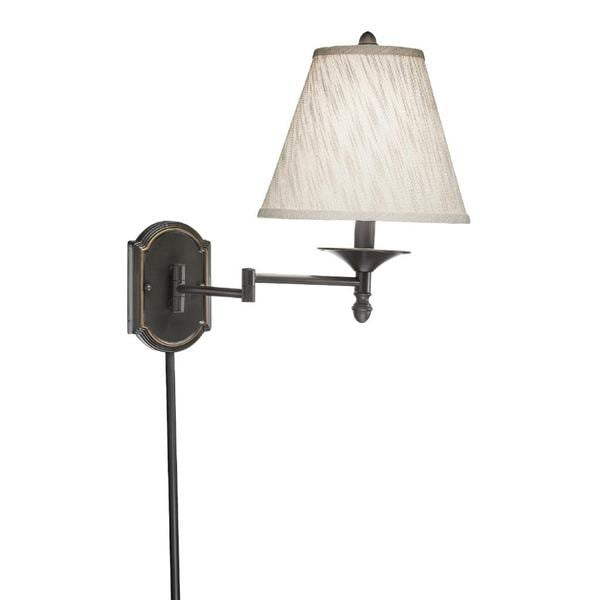 swing arm 1 light plug in bronze wall lamp with cream. Black Bedroom Furniture Sets. Home Design Ideas