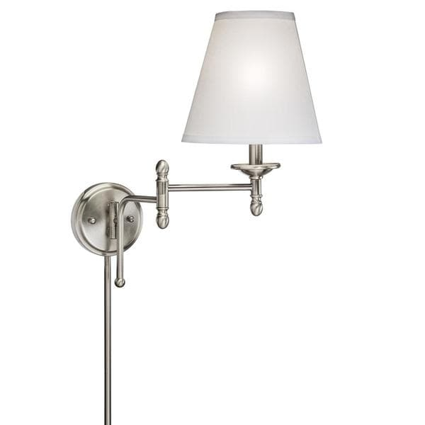transitional 2 light antique pewter swing arm pin up plug in wall lamp. Black Bedroom Furniture Sets. Home Design Ideas