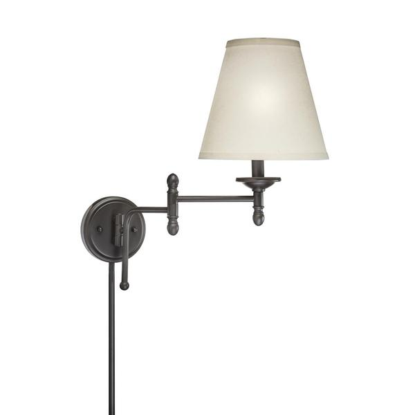 swing arm 1 light plug in bronze finish wall lamp 15559652. Black Bedroom Furniture Sets. Home Design Ideas