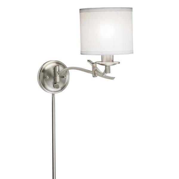 Swing Arm 1-light Plug-in Brushed Nickel Wall Lamp