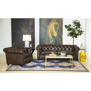 Abbyson Living Tuscan Premium Italian Leather Sofa and Armchair Set