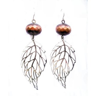 Heavenly Beads Copper and Silver Leaf Earrings
