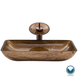 VIGO Rectangular Amber Sunset Glass Vessel Sink and Waterfall Faucet Set in Oil Rubbed Bronze