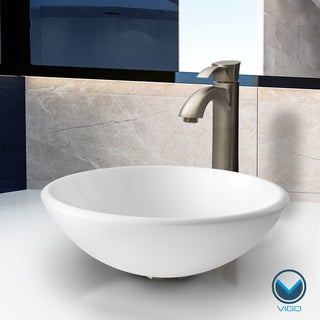 VIGO White Phoenix Stone Glass Vessel Sink with Brushed Nickel Faucet