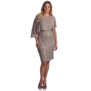 Alex Evenings Plus Size Sleeveless Stretch Lace Dress with Capelet