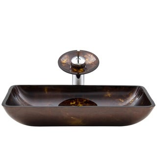 VIGO Rectangular Brown and Gold Fusion Glass Vessel Sink and Waterfall Faucet Set in Chrome