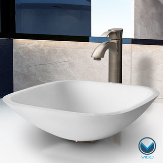 VIGO Square Shaped White Phoenix Stone Glass Vessel Sink with Brushed Nickel Faucet