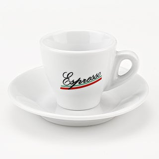 Set of 6 Porcelain Espresso Cups with Espresso logo, by Lorren Home Trends