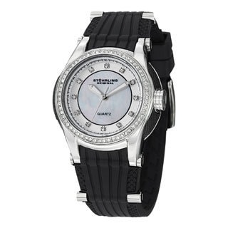 Stuhrling Original Women's Illusion Quartz Crystal Rubber Strap Watch