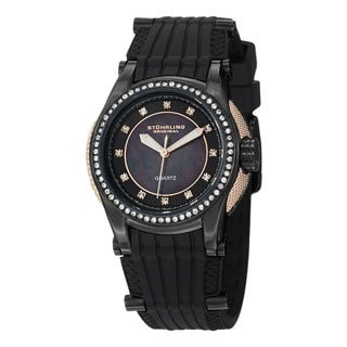 Stuhrling Original Women's Illusion Quartz Crystal Water Resistant Rubber Strap Watch