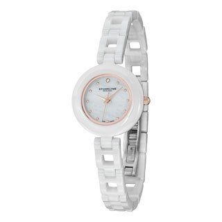 Stuhrling Original Women's Le Petit Swiss Quartz Swarovski Crystal Ceramic Bracelet Watch