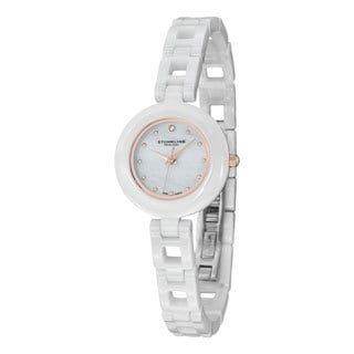 Stuhrling Original Women's Le Petit Swiss Quartz Austrian Crystal Ceramic Bracelet Watch
