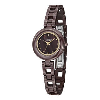 Stuhrling Original Women's Le Petit Swiss Quartz Swarovski Crystal Brown Ceramic Bracelet Watch
