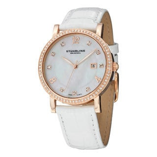 Stuhrling Original Women's Lorraine Swiss Quartz Mother Of Pearl Swarovski Crystal Watch