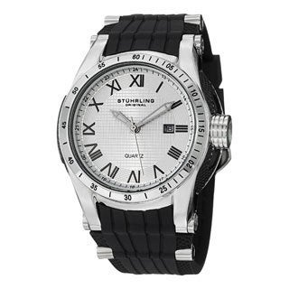 Stuhrling Original Men's Tachymere Water-resistant Quartz Rubber-strap Watch