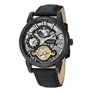 Stuhrling Original Men's Mistral Automatic Skeleton Leather Strap Watch
