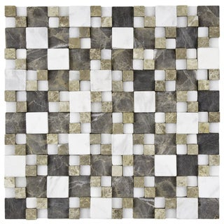SomerTile 12x12-inch Griselda Gaodi Sand Natural Stone Mosaic Wall Tile (Case of 10)