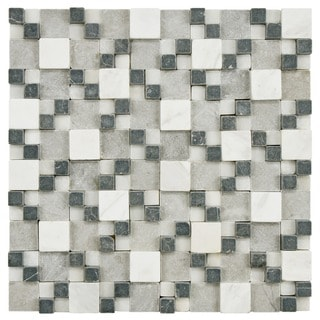 SomerTile Griselda Gaodi Charcoal Natural Stone Mosaic Tile (Pack of 10)