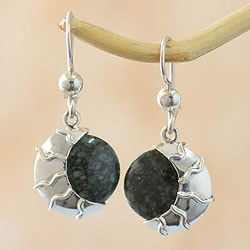 Sterling Silver 'Place of the Moon' Jade Earrings (Guatemala)