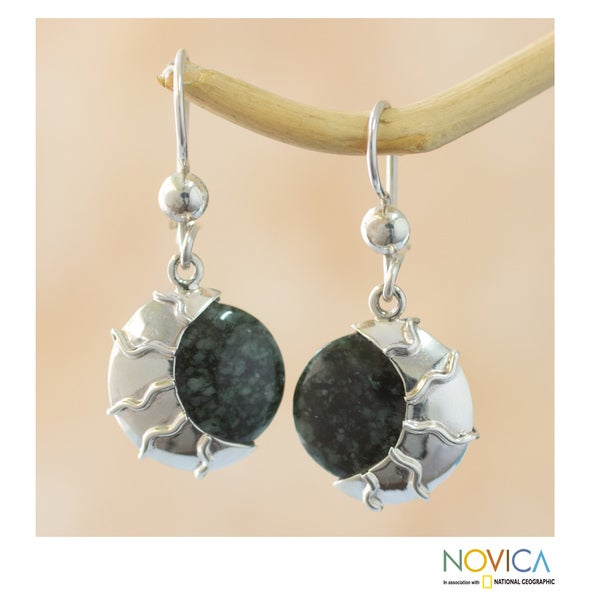 Sterling Silver 'Place of the Moon' Jade Earrings (Guatemala) 11518000