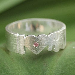 Sterling Silver 'I Love Elephants' Tourmaline Ring (Thailand)