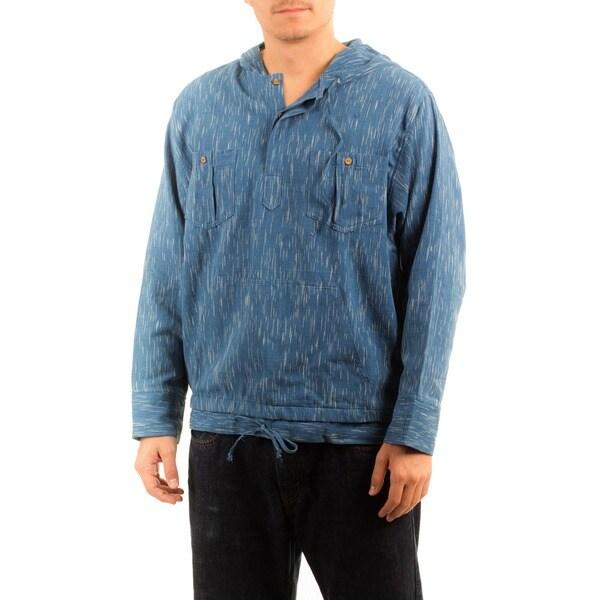 Handmade Men's Cotton 'Blue Moon' Hoodie Pullover (Guatemala) 11518015
