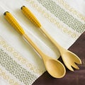 Set of 2 Cypress Wood 'Golden Corn' Salad Serving Set (Guatemala)