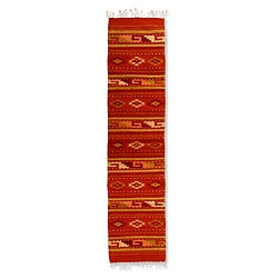 Hand-woven Wool 'Sierra Sunset' Orange Zapotec Rug (1.5' x 6.5') (Mexico)