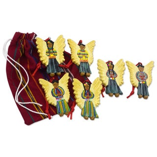 Set of 6 Ceramic 'Guatemala Guardian Angels' Ornaments (Guatemala)