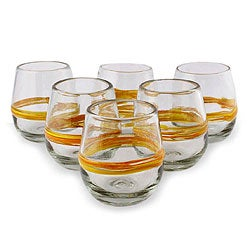 Set of 6 Blown Glass 'Round Ribbon of Sunshine' Glasses (Mexico)