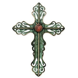 Handcrafted Steel 'Cross and Sacred Heart' Wall Art Sculpture (Mexico)