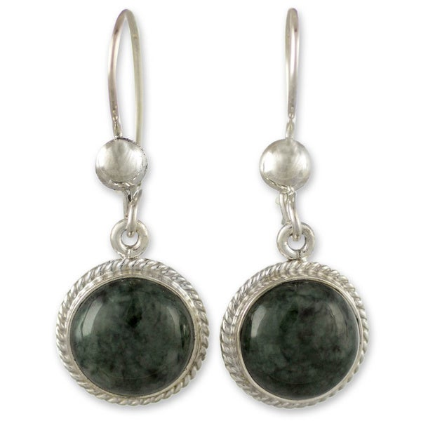 Handmade Sterling Silver 'Mixco Moon' Jade Earrings (Guatemala) 11518061