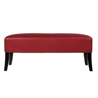 Cortesi Home Jasper Red faux Leather Bench Ottoman
