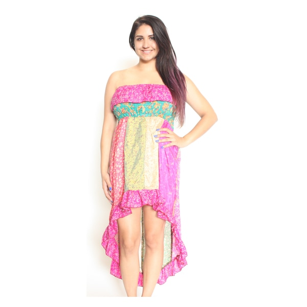 Silk Hi-Low Bright Tube Top Dress (Nepal)