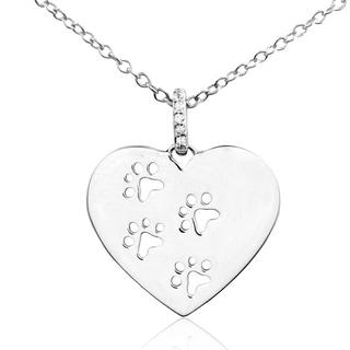 ASPCA Tender Voices Silver Diamond Heart Paw Print Necklace (I-J, I2-I3)