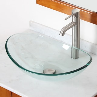ELITE GD33F371023BN Tempered Bathroom Glass Vessel Sink W. Unique Oval Shape With Faucet Combo