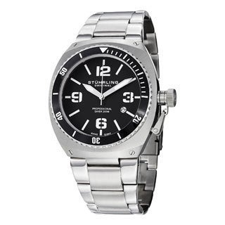 Stuhrling Original Men's Regatta DSV Swiss Quartz Professional Diver Stainless Steel Bracelet Watch