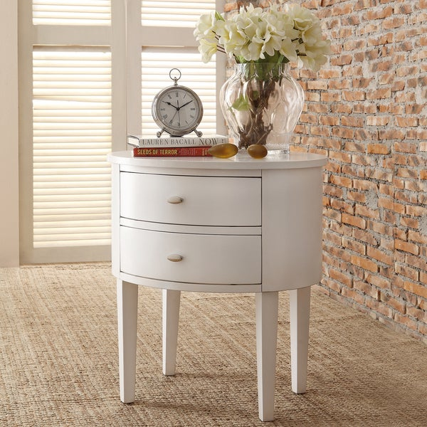 INSPIRE Q Aldine 2 Drawer White Oval Wood Accent Table