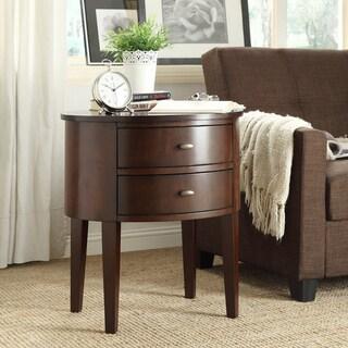 INSPIRE Q Aldine 2 Drawer Espresso Oval Wood Accent Table