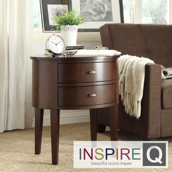 Inspire Q Neo Oval Cherry Brown Nightstand
