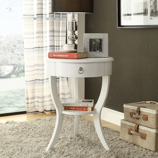 INSPIRE Q Burkhardt White Round Wood Accent Table