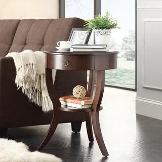 INSPIRE Q Burkhardt Espresso Round Wood Accent Table
