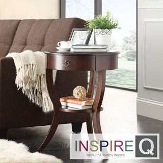 INSPIRE Q Burkhardt Espresso Round Wood Accent Table