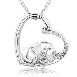 ASPCA Tender Voices Sterling Silver Diamond Accent Sleepy Dog Necklace