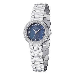 Stuhrling Original Women's Tresor Swiss Quartz Crystal Blue-dial Stainless Steel Bracelet Watch